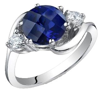 .925 Silver Blue Sapphire Ring