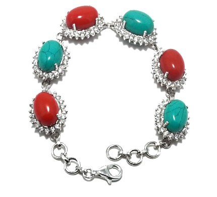 .925 Silver Coral & Turquise Bracelet
