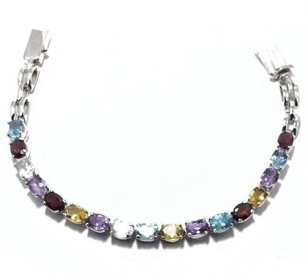 .925 Silver Multi Stone Bracelet