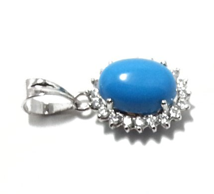 .925 Silver Blue Turquise Pendant