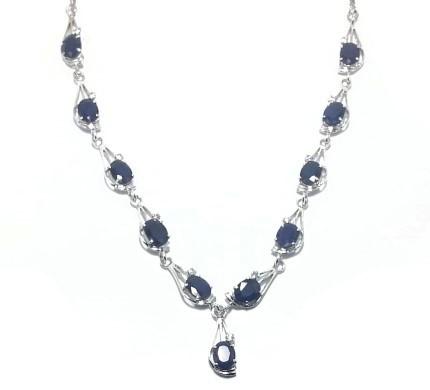 .925 Silver Blue Sapphire Necklace