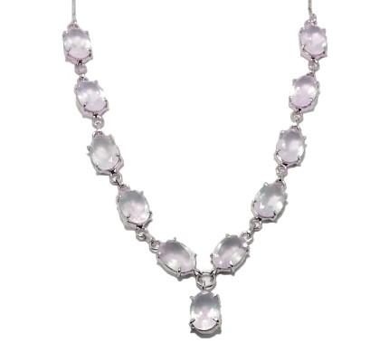 .925 Silver Rose Quartz Necklace