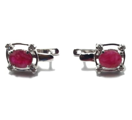 .925 Silver Ruby Ear Ring