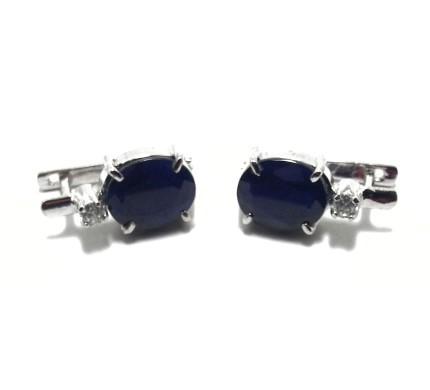 .925 Silver Blue Sapphire Ear Ring