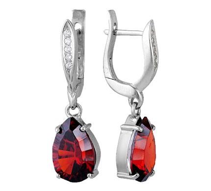 .925 Silver Garnet Ear Ring