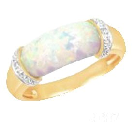.585 Gold Opal & Diamond Ring