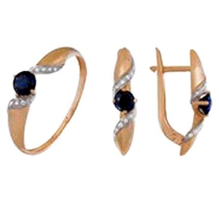 .585 Red Gold Blue Sapphire & Diamond Set