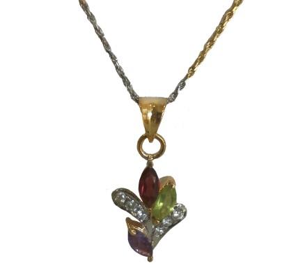 .585 Gold Multi Stone Diamond Pendant