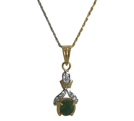 .585 Gold Emerald & Diamond Pendant