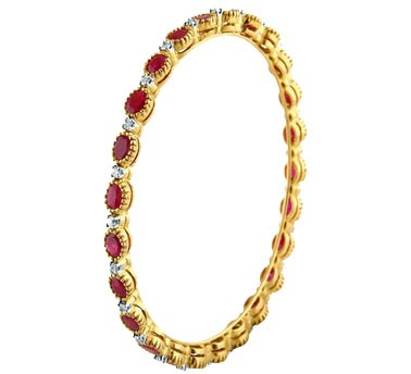 .585 Gold Ruby & Diamond Bracelet
