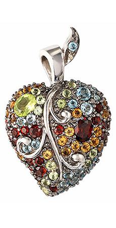 (P 18) - .925 Silver Multi Stone Pendant