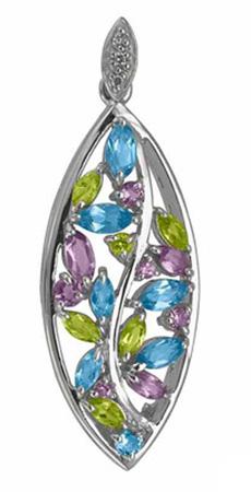 (P 16) - .925 Silver Multi Stone Pendant